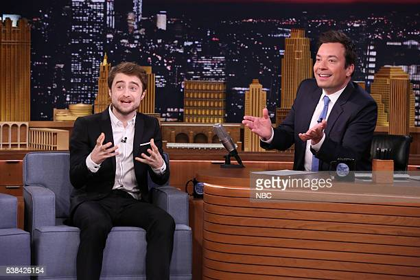 Episode 0482 -- Pictured: Actor Daniel Radcliffe during an interview with host Jimmy Fallon on June 6, 2016 --