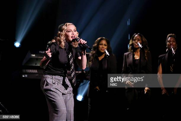 Episode 0485 -- Pictured: Musical guest Madonna performs with The Roots on June 9, 2016 --