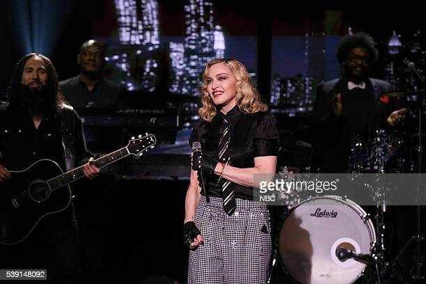 Musical guest Madonna performs with The Roots on June 9 2016