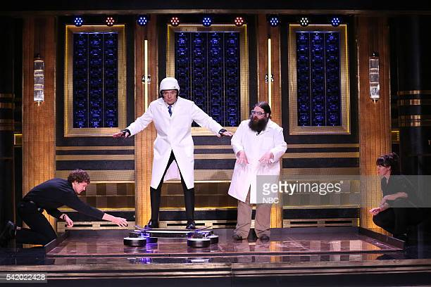 Host Jimmy Fallon and science expert Kevin Delaney during a science demo on June 21 2016