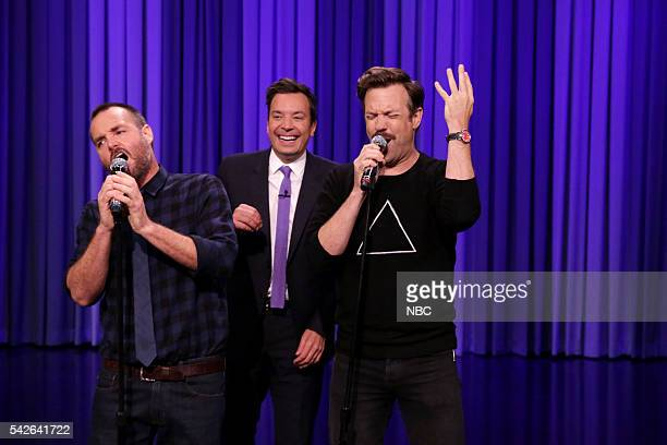 Actor Will Forte host Jimmy Fallon and actor Jason Sudeikis sing karaoke on June 23 2016