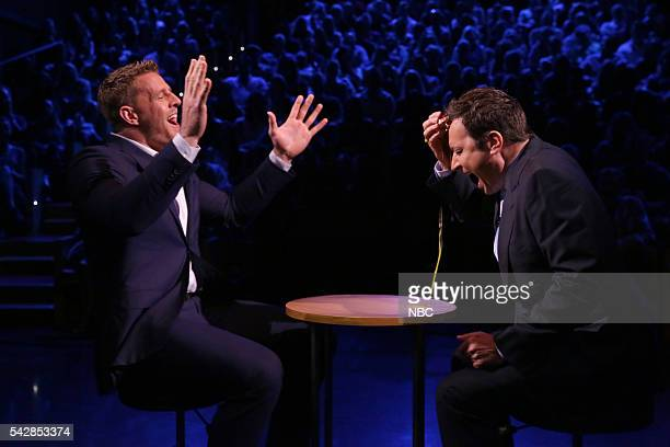 Professional football player JJ Watt plays 'Egg Russian Roulette' with host Jimmy Fallon on June 24 2016