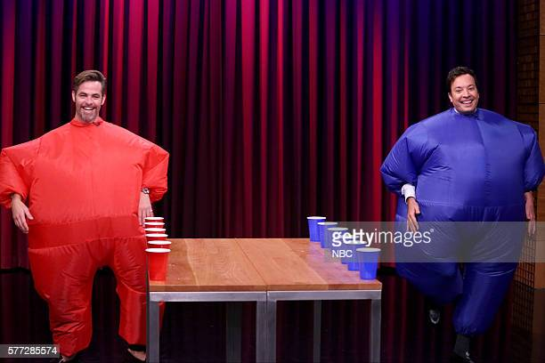 Actor Chris Pine and host Jimmy Fallon play 'Inflatable Flip Cup' on July 18 2016
