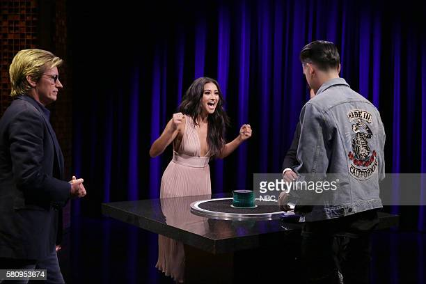 Actor Denis Leary actress Shay Mitchell Rapper GEazy and host Jimmy Fallon play 'Catchphrase' on July 25 2016