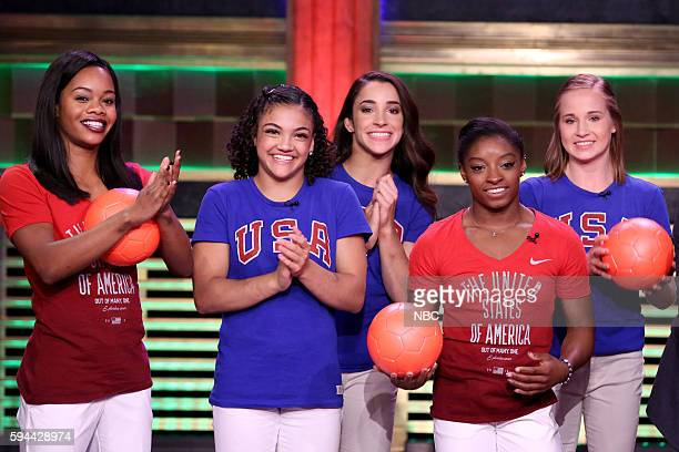 Gabby Douglas Laurie Hernandez Aly Raisman Simone Biles and Madison Kocian of the US women's gymnastics team play 'Hungry Hungry Humans' on August 23...