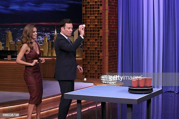 Actress Jessica Alba and host Jimmy Fallon play roomba pong on August 26 2016
