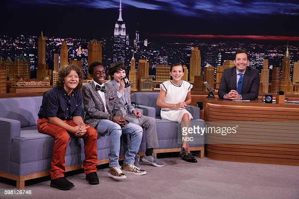 Actors Gaten Matarazzo Caleb McLaughlin Finn Wolfhard and Millie Bobby Brown during an interview with host Jimmy Fallon on August 31 2016