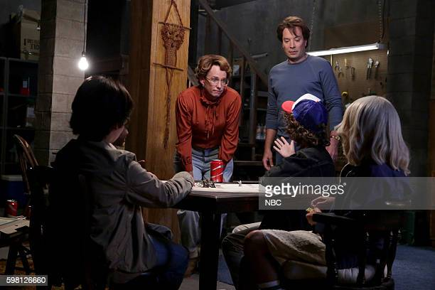 AD Miles as Barb and Jimmy Fallon as Steve Harrington during the 'Stranger Things' parody on August 31 2016