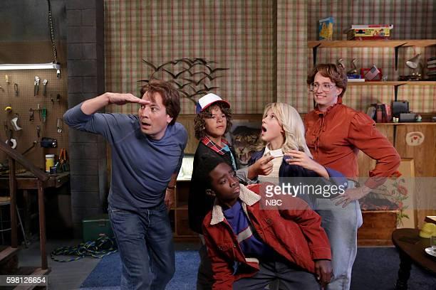 Jimmy Fallon as Steve Harrington Gaten Matarazzo as Dustin Henderson Caleb McLaughlin as Lucas Sinclair Millie Bobby Brown as Jane 'Eleven' Ives and...