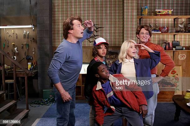 Episode 0524 -- Pictured: Jimmy Fallon as Steve Harrington, Gaten Matarazzo as Dustin Henderson, Caleb McLaughlin as Lucas Sinclair, Millie Bobby...