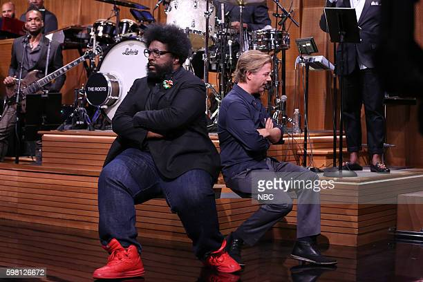 Musician Ahmir 'Questlove' Thompson and actor David Spade during a sketch on August 31 2016