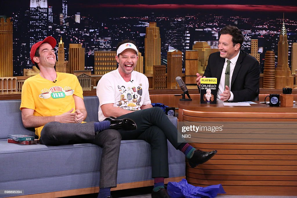 Comedians John Mulaney and Nick Kroll during an interview with host Jimmy Fallon on September 2, 2016 --