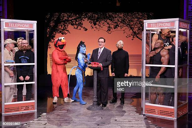 Insect expert Billy Corritore musician Miley Cyrus beard champion Garey Faulkner Times Square Elmo a Na'vi woman announcer Steve Higgins ET...