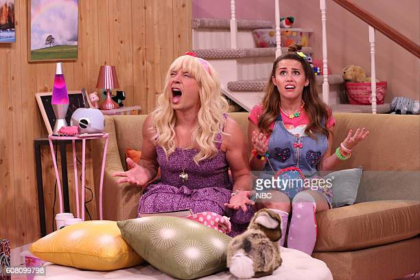 Host Jimmy Fallon as Sara and musician Miley Cyrus during the Ew sketch on September 19 2016