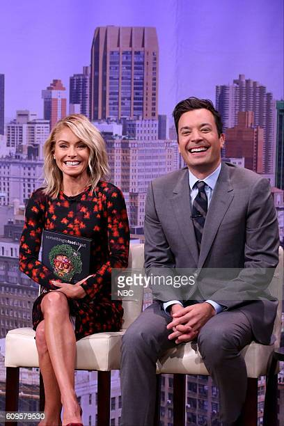 Actress Kelly Ripa and host Jimmy Fallon during the 'Live with Kelly Audition' sketch on September 21 2016