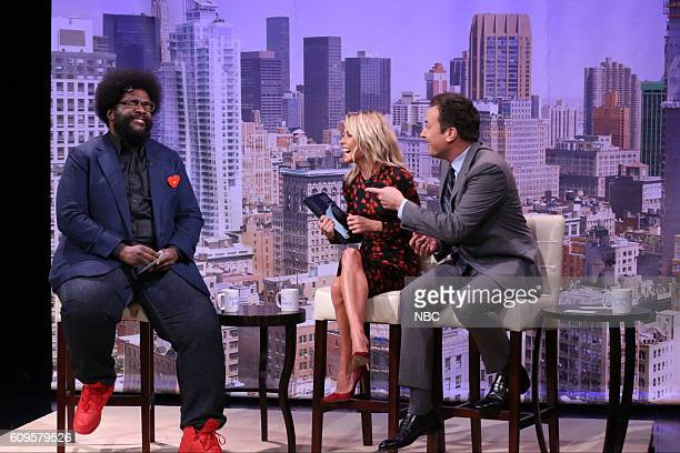 Musician Ahmir 'Questlove' Thompson actress Kelly Ripa and host Jimmy Fallon during the 'Live with Kelly Audition' sketch on September 21 2016