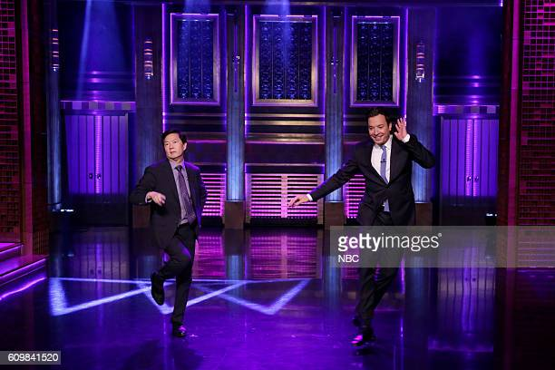 Actor Ken Jeong and host Jimmy Fallon during the Turn and Face The Music sketch on September 22 2016