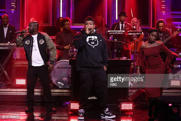 Posdnuos and Dave of musical guest De La Soul perform with Estelle and The Roots on September 27 2016
