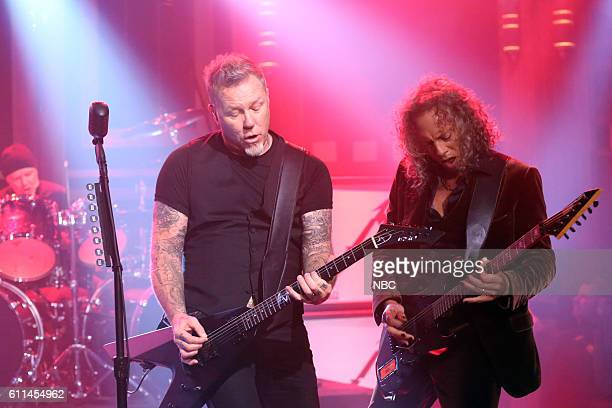 James Hetfield and Kirk Hammett of musical guest Metallica perform on September 29 2016