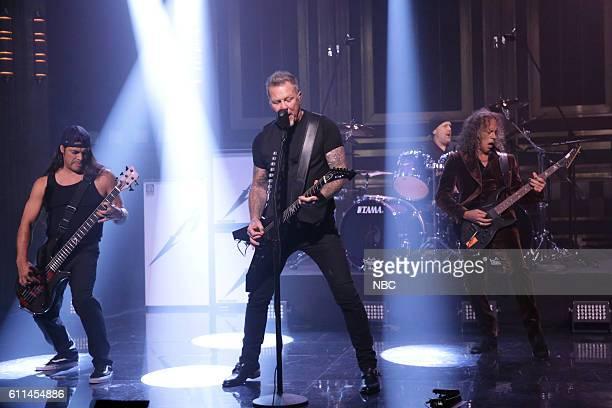 Robert Trujillo James Hetfield Lars Ulrich and Kirk Hammett of musical guest Metallica perform on September 29 2016