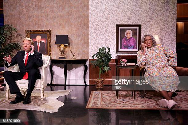 Host Jimmy Fallon as Republican Presidential Candidate Donald Trump and Tyler Perry as Mabel Madea Simmons during the Madea/Trump Phone Call sketch...