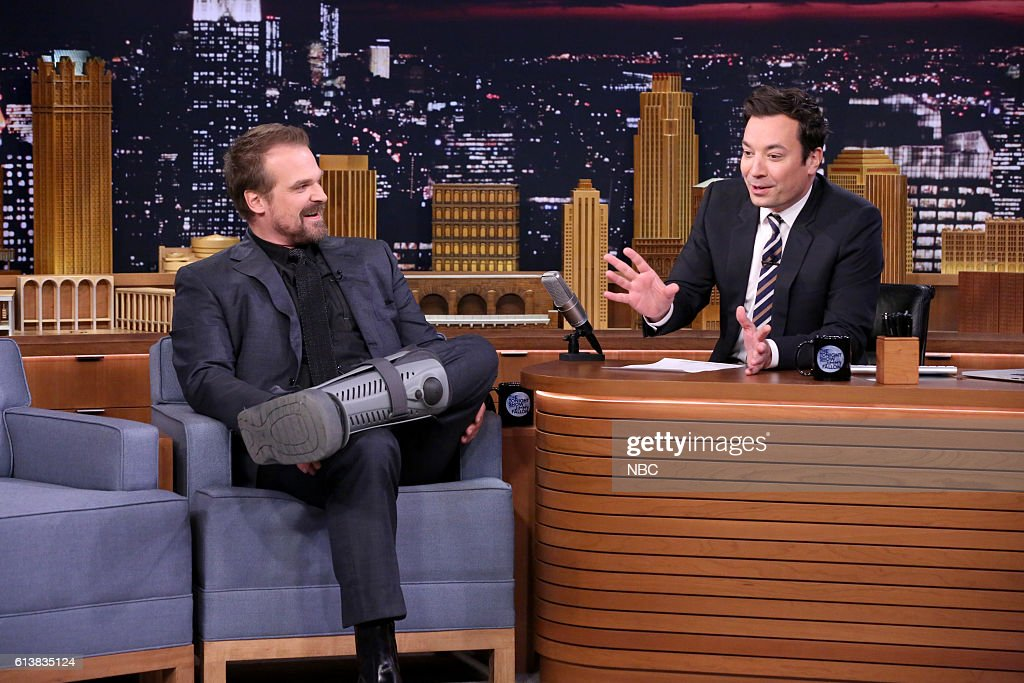 Actor David Harbour during an interview with host Jimmy Fallon on October 10, 2016 --