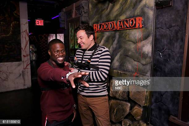 Actor Kevin Hart and host Jimmy Fallon during the 'Jimmy and Kevin Go to a Haunted House' sketch on October 13 2016