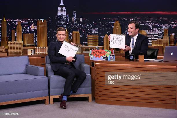Actor Justin Timberlake and host Jimmy Fallon play the 'Best Friend Challenge' on October 26 2016