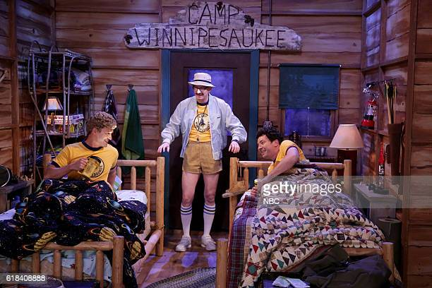 Actor Justin Timberlake writer AD Miles and host Jimmy Fallon during the Camp Winnipesaukee sketch on October 26 2016
