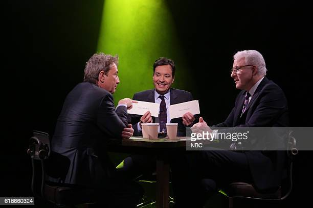 Actor Martin Short host Jimmy Fallon and actor Steve Martin play 'True Confessions' with host Jimmy Fallon on October 27 2016