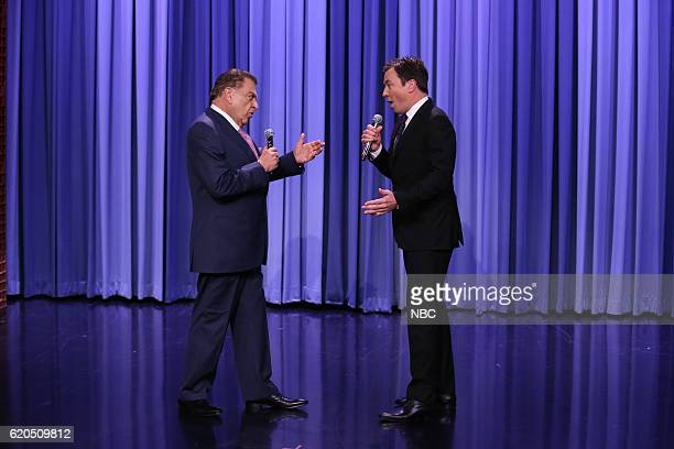 Don Francisco sings with host Jimmy Fallon during 'Suggestion Box' on November 1 2016
