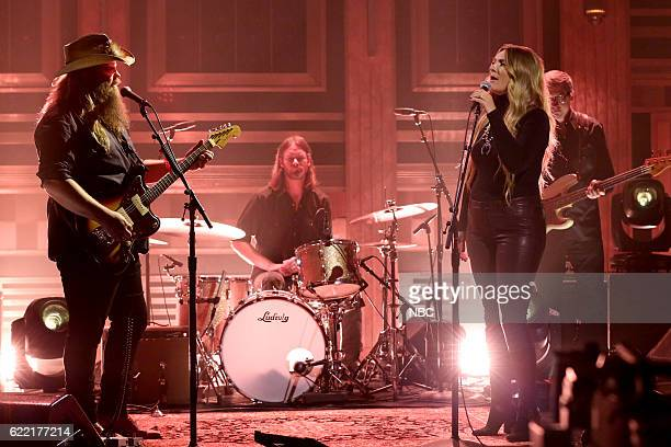 Musical guests Chris Stapleton and Morgane Stapleton perform on November 10 2016