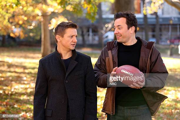 Actor Jeremy Renner and host Jimmy Fallon play catch on November 11 2016