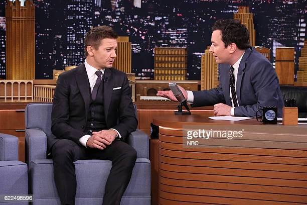 Actor Jeremy Renner during an interview with host Jimmy Fallon on November 11 2016