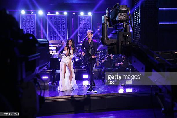 Musical guests Camila Cabello and Machine Gun Kelly perform on November 23 2016