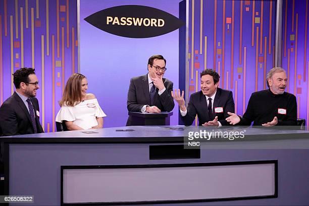 Director JJ Abrams actress Natalie Portman announcer Steve Higgins host Jimmy Fallon and musician Neil Diamond play Password on November 29 2016