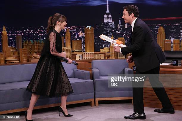 Actress Felicity Jones demonstrates her martial arts training during an interview with host Jimmy Fallon on November 30 2016