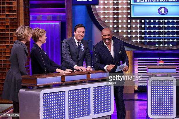 Actress Greta Gerwig actress Annette Bening host Jimmy Fallon and television personality Steve Harvey play 'Tonight Show Family Feud' on December 05...