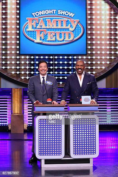 Host Jimmy Fallon and television personality Steve Harvey play 'Tonight Show Family Feud' on December 05 2016
