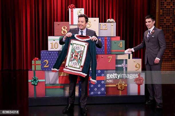 Host Jimmy Fallon during the 12 Days of Christmas Sweaters sketch on December 08 2016