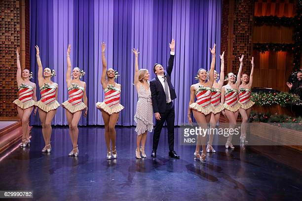 Actress Sienna Miller and host Jimmy Fallon dance with The Rockettes on December 15 2016