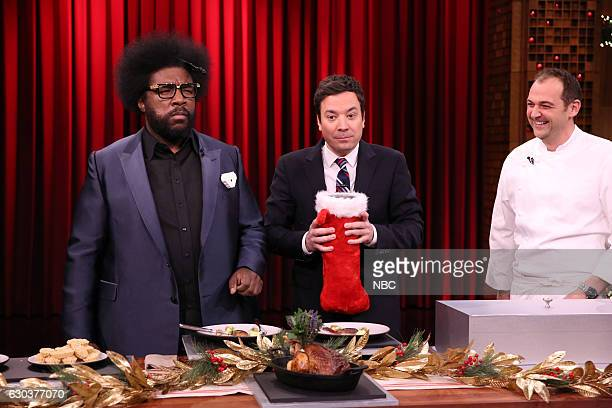 Ahmir 'Questlove' Thompson host Jimmy Fallon and chef Daniel Humm play 'Food Fake Outs' on December 21 2016