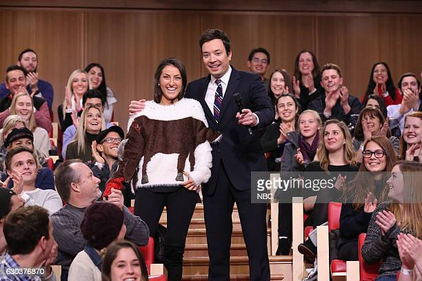 Host Jimmy Fallon during the 12 Days of Christmas Sweaters bit on December 21 2016