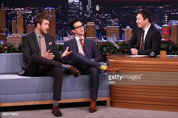 Comedians Rhett James McLaughlin and Charles Lincoln Link Neal during an interview with host Jimmy Fallon on December 23 2016