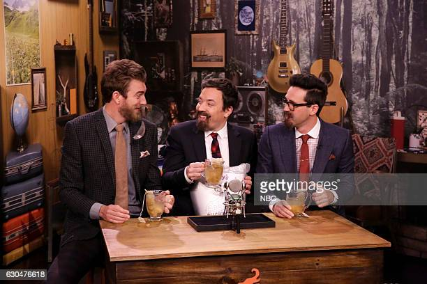Comedians Rhett James McLaughlin and Charles Lincoln Link Neal during the Will It Tea sketch with host Jimmy Fallon on December 23 2016
