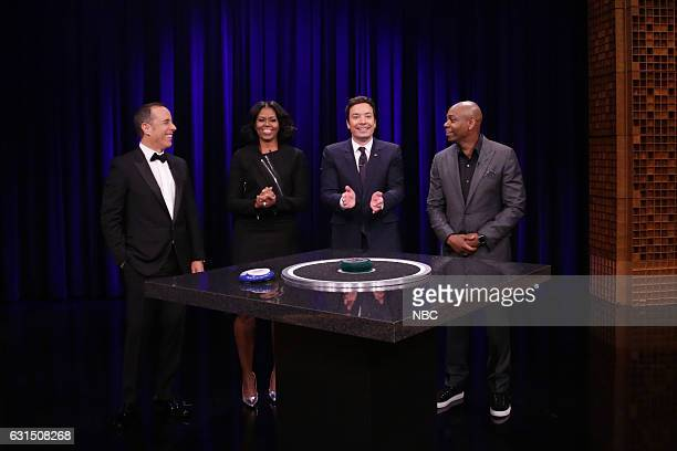 Comedian Jerry Seinfeld First Lady Michelle Obama host Jimmy Fallon and comedian Dave Chappelle play Catchphrase on January 11 2017