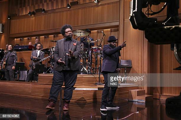 Ahmir Questlove Thompson and Tariq Black Thought Trotter during the monologue on January 17 2017
