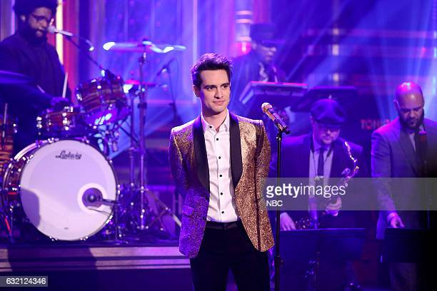 Brendon Urie of musical guest Panic at the Disco performs with The Roots on January 19 2017