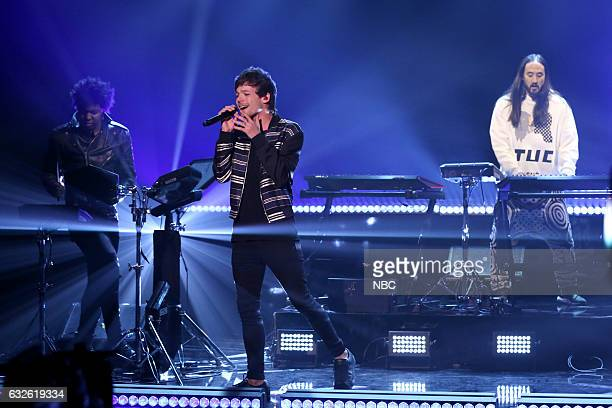 Musical guests Louis Tomlinson and Steve Aoki perform on January 24 2017