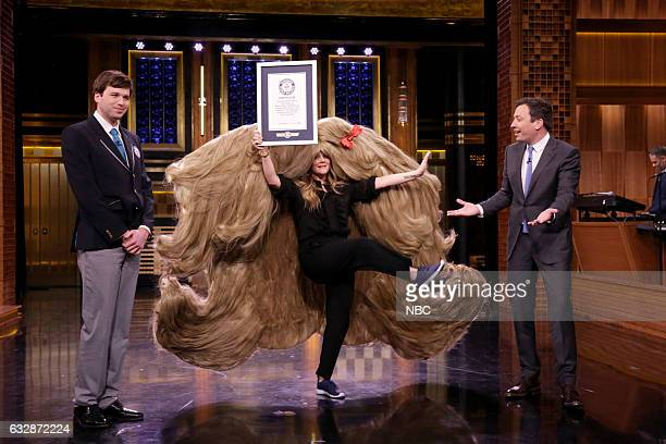 Actress Drew Barrymore and host Jimmy Fallon during Guinness World Records on January 27 2017